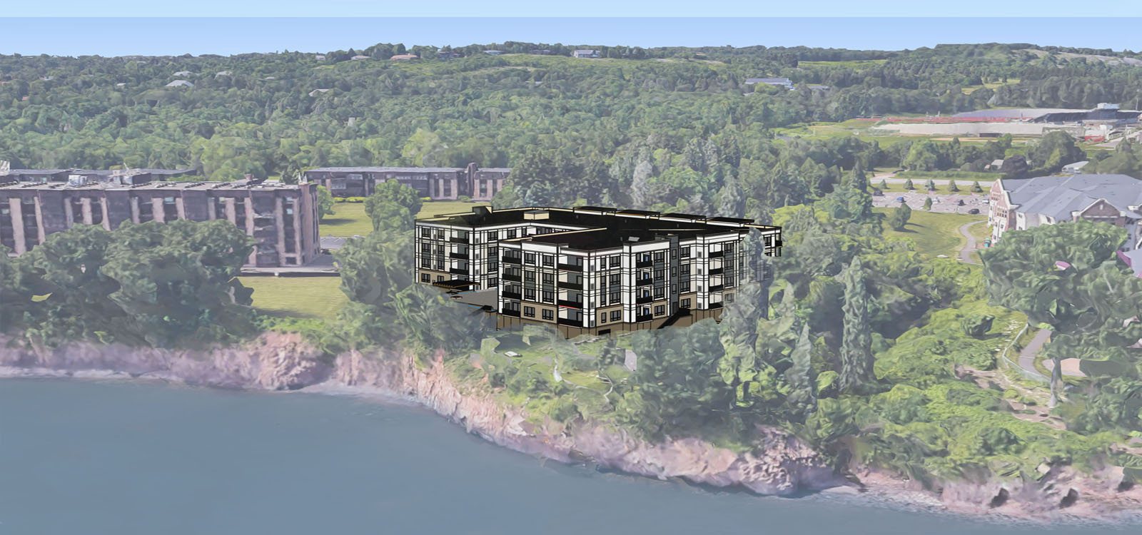 Zvago building overlooking Lake Superior